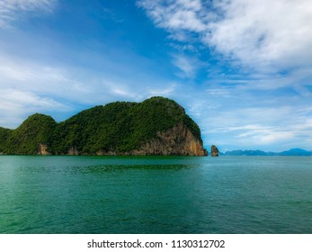 A limestone island in Phang-nga bay nationnal park.