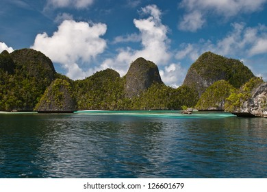 Limestone islands in Wayag, northern Raja Ampat, protect a lagoon where corals and juvenile fish thrive.  This is within the Coral Triangle, the most diverse region in the world for marine life.