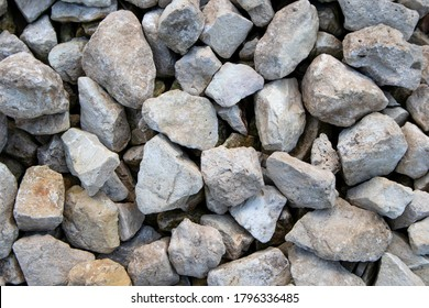 Limestone light crushed stone close up