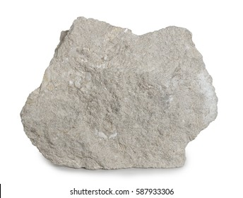 Limestone mineral stone isolated on white background. Limestone is a sedimentary rock composed largely of the minerals calcite and aragonit, composed of skeletal fragments of marine organisms.