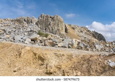 Limestone mining, Open pit mine.