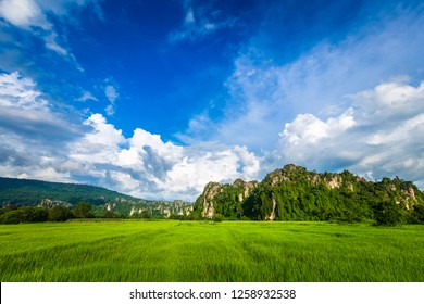 Limestone mountain range and rice field, travel scenic in Noen Maprang district, Phitsanulok, Thailand