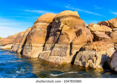 Limestone on the Coastline of the Nile river called First Cataract, Aswan, Egyptt