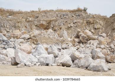 Limestone pile in limestone mine, quarry.