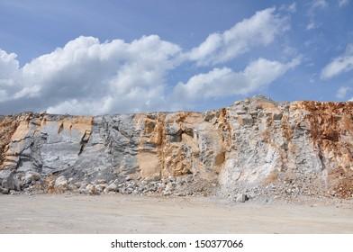 Limestone quarry, Open pit mine in Thailand