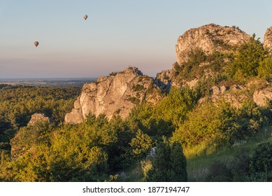 Góra Zborów, Limestone rock formation at sunset - Shutterstock ID 1877194747