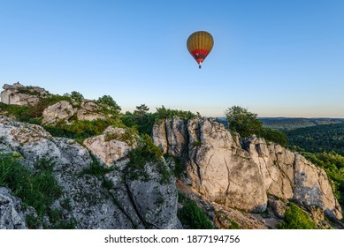 Góra Zborów, Limestone rock formation at sunset - Shutterstock ID 1877194756