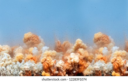 Limestone rocks particle in air after the electric detonator blasting