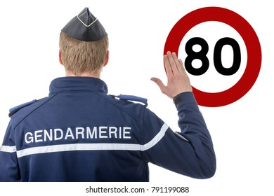 a limit speed at 80 km/h, french policeman on the roadside