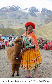 Limite Vial, Puno, Peru – October 23, 2018: Unidentified Woman with Alpaca on Limite Vial - 4,335 m pass dividing Cusco and Puno provinces, a popular stop for tourists travelling by road. Peru