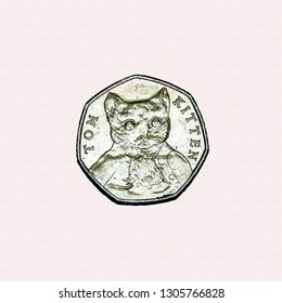 Limited edition British 50p piece coin commemorating Beatrix Potter character Tom Kitten