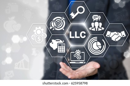 Limited Liability Company concept. Businessman touched LLC word icon on virtual screen. Business, industry, medicine, real estate, auto manufacture, finance, internet, store start up strategy