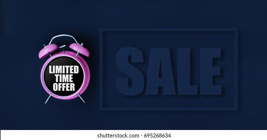 Limited time offer. Pink alarm clock on black background with Sale paper cut text and thin frame. Dark blue web banner for black friday, discount poster, store promotion.