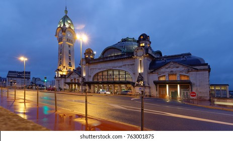 LIMOGES, FRANCE - SEPTEMBER 9, 2013: Night view of Limoges-Benedictins Train Station. Built in 1929, it's considered as one of the most beautiful train station in the world