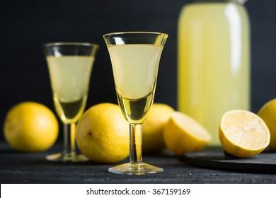 Limoncello. Tradtitional italian homemade lemon beverage.