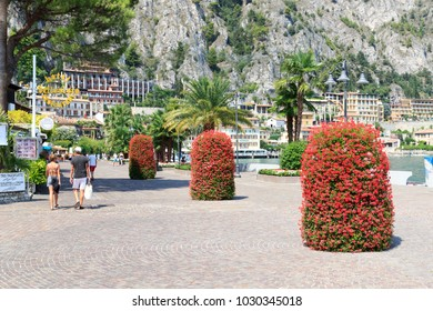 Limone, Italy - August 5, 2017: Promenade with palm trees in Limone at Lake Garda. Today Limone is one of the most renowned tourist resorts in the area.