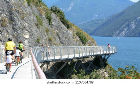 Limone sul Garda – Brescia/July 18,2018:  on Sunday 15th July, the first section of the bicycle path Garda by bike  was inaugurated overlooking the large lake that connects with Riva del Garda.