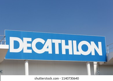 Limonest, France - July 19, 2018: Decathlon sign on a wall. Decathlon is a french company and one of the world's largest sporting goods retailers