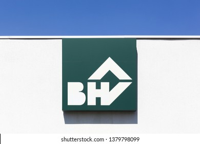 Limonest, France - July 19, 2018: BHV logo on a wall. BHV is a general department store belonging to the Galeries Lafayette group