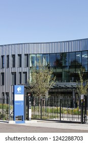 Limonest, France - September 8, 2018: Danone baby food office building in Limonest, France. Danone is a French multinational food-products corporation based in Paris