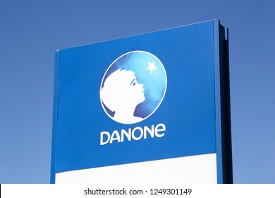 Limonest, France - September 8, 2018: Danone logo on a panel. Danone is a French multinational food-products corporation based in Paris