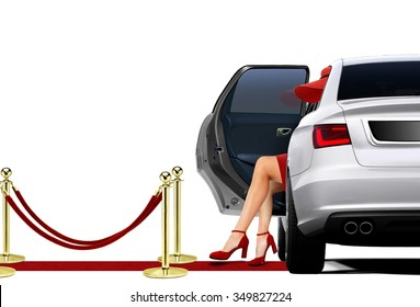 Limousine Arrival with lady in red attire