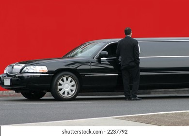 Limousine driver waiting