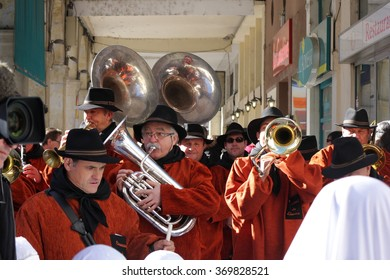 LIMOUX, FRANCE-JANUARY 17, 2016: Musician band during Carnival of Limoux.