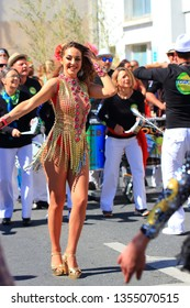 LIMOUX, FRANCE-MARCH 30, 2019: Brazilian woman dancing at the carnival of Limoux in the Aude, Occitanie in the south of France