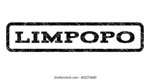 Limpopo watermark stamp. Text tag inside rounded rectangle frame with grunge design style. Rubber seal stamp with unclean texture. Raster black ink imprint on a white background.
