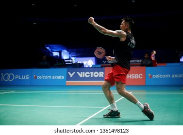 Lin Dan of China celebrates after he defeated his compatriot Shi Yuqi on day five of the Badminton Malaysia Open at Axiata Arena on April 06, 2019 in Kuala Lumpur, Malaysia