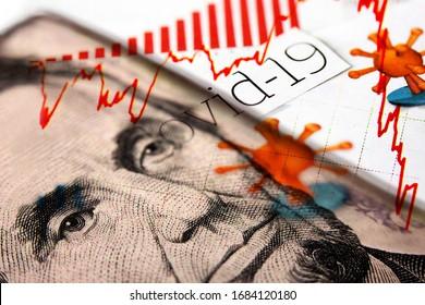 Billet de 5 dollars Lincoln combiné avec les titres du journal Corona / Covid-19