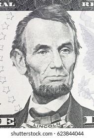 Lincoln Abraham  portrait on dollar bill  closeup