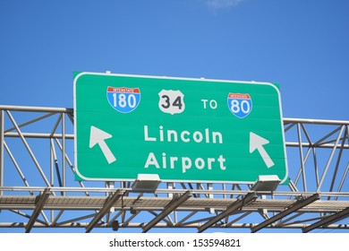 Lincoln Airport I 80 Sign in Lincoln, Nebraska.