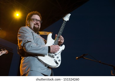 LINCOLN, CA - AUGUST 16: Hershel Yatovitz performs with Chris Isaak at Thunder Valley Casino Resort on August 16 in Lincoln, California.