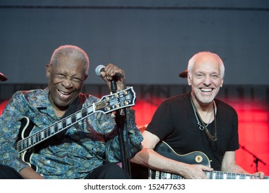LINCOLN, CA - August 30: BB King (R) performs with Peter Frampton in support of Frampton�¢??s Guitar Circus tour at Thunder Valley Casino Resort in Lincoln, California on August 30, 2013