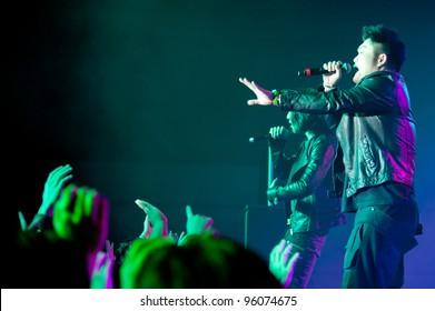 LINCOLN, CA - FEBRUARY 24: Nicky Lee with Aziatix performs at Thunder Valley Casino Resort in Lincoln, California on February 24, 2012
