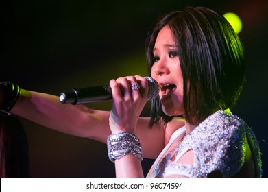 LINCOLN, CA - FEBRUARY 24: Victoria Chan with K-Pop group Blush  performs at Thunder Valley Casino Resort in Lincoln, California on February 24, 2012