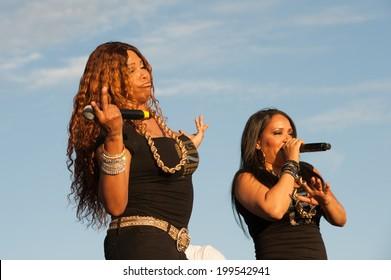 "LINCOLN, CA - June 14: Sandra ""Pepa"" Denton (L) and Cheryl ""Salt"" James of Salt N Pepa perform at Thunder Valley Casino Resort in Lincoln, California on June 14, 2014"