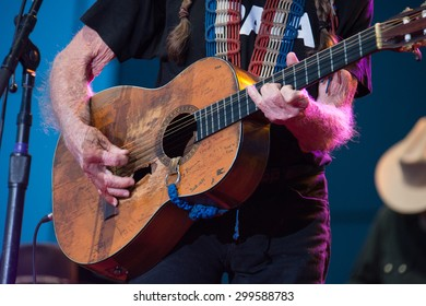 LINCOLN, CA - June 17: Willie Nelson plays his guitar, Trigger at Thunder Valley Casino Resort in in Lincoln, California on June 17, 2015