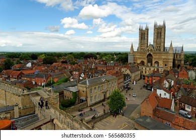 Lincoln Cathedral or the Cathedral Church of the Blessed Virgin Mary of Lincoln, the seat of the Anglican bishop in Lincoln, England, seen from the Lincoln castle.