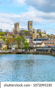 Lincoln cathedral overlooking Brayford pool, England