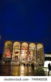The Lincoln Center with Metropolitan Opera by night- MANHATTAN / NEW YORK - November 7 2017