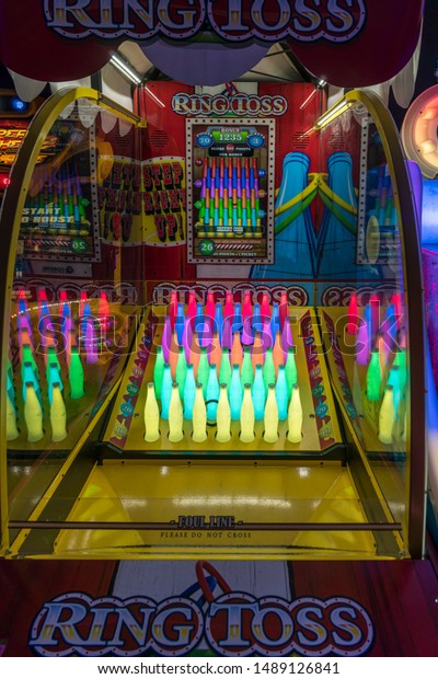 Lincoln City, Oregon - August 24, 2019: Colorful lights and objects of video arcade game.