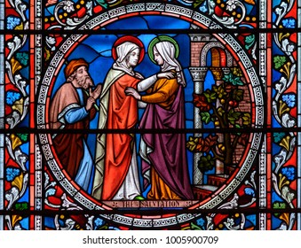 Lincoln, England - Nov 17, 2017: Stained Glass of Lincoln Cathedral Close up B, Medieval Religious Architecture, Bible Scenes