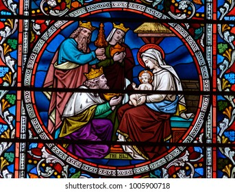 Lincoln, England - Nov 17, 2017: Stained Glass of Lincoln Cathedral Close up E, Medieval Religious Architecture, Bible Scenes
