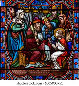 Lincoln, England - Nov 17, 2017: Stained Glass of Lincoln Cathedral Close up I, Medieval Religious Architecture, Bible Scenes