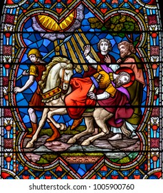 Lincoln, England - Nov 17, 2017: Stained Glass of Lincoln Cathedral Close up K, Medieval Religious Architecture, Bible Scenes