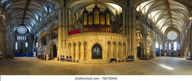 Lincoln, England - Nov 17, 2017: 180 Degrees of Lincoln Cathedral, From North to South Transept, Interior of Gothic Religious Architecture