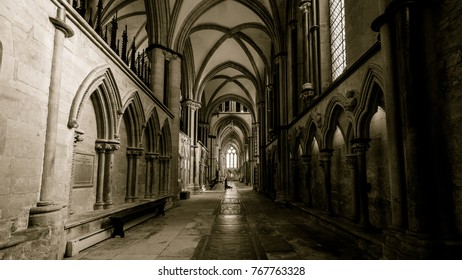 Lincoln, England - Nov 17, 2017: South Aisle in Lincoln Cathedral, Corridor in Sepia Tone, Indoor Gothic Religious Architecture